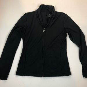 prAna black zip front Knotted Back cardigan size M